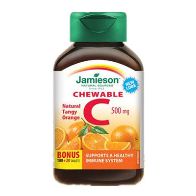 Jamieson Vit C 500mg Chewable Orange Bonus 100+20 Tablets