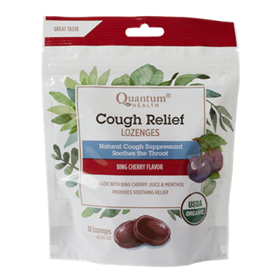 Quantum Organic Cough Relief Bing Cherry 18 Lozenges
