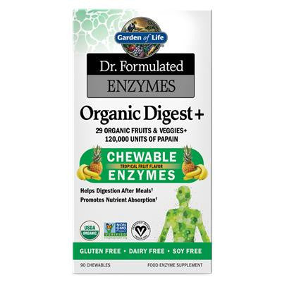 Garden of Life Dr. Formulated Enzymes Organic Digest 90 Chewable Tablets