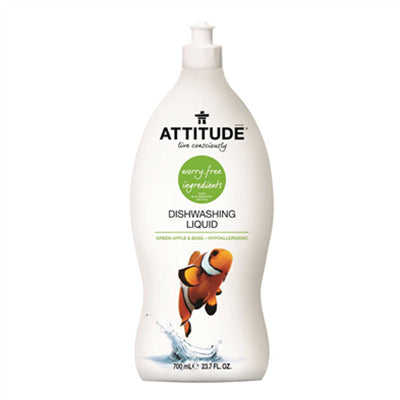 Attitude Dishwashing Liquid Green Apple & Basil 700ml