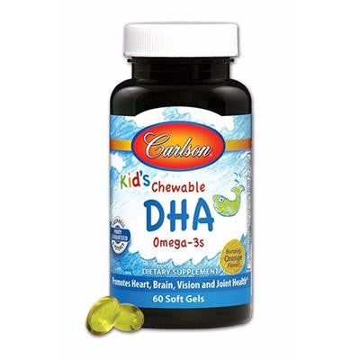 Carlson for Kids Chewable DHA, Orange Flavor 600 mg 60 Softgels