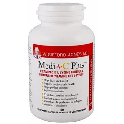 W.Gifford-Jones, MD Medi-C Plus Vitamin C & Lysine Formula 150 Capsules
