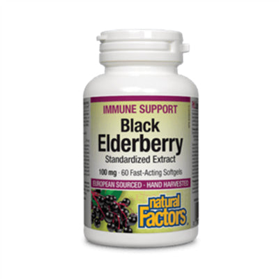 Natural Factors Black Elderberry Standardized Extract 100mg 60 Softgels