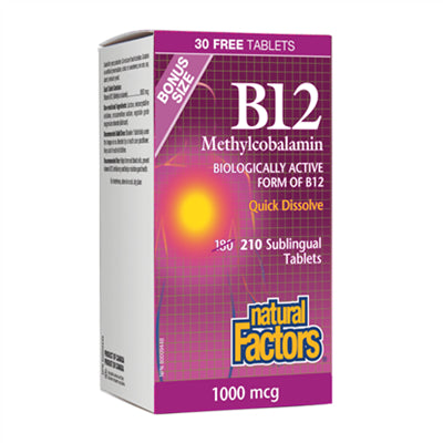 Natural Factors B12 Methylcobalamin 1000 mcg 210 Tablets
