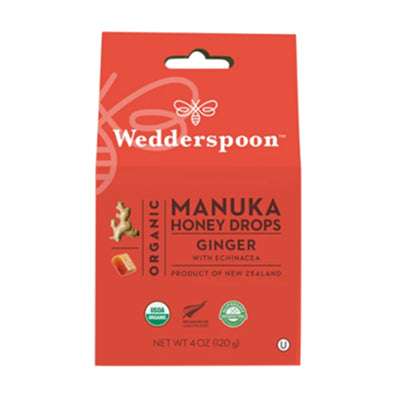 Wedderspoon Organic Manuka Honey Drops Ginger 120g
