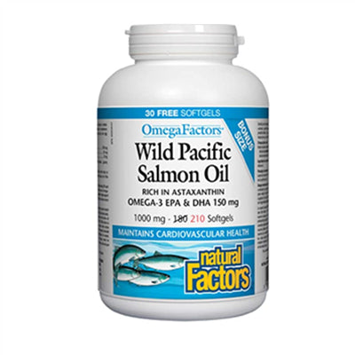 Natural Factors Wild Pacific Salmon Oil 1000 mg 180 + 30 Softgels