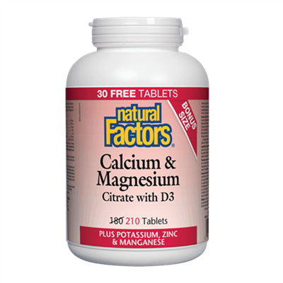 Natural Factors Calcium & Magnesium Citrate with D3 Plus Potassium, Zinc & Manganese 210 Tablets