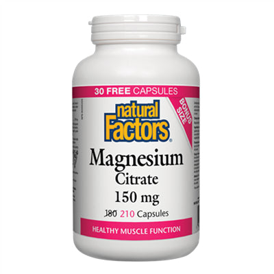 Natural Factors Magnesium Citrate 150 mg 180+30 Capsules
