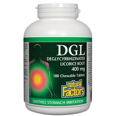 Natural Factors DGL Deglycyrrhizinated Licorice Root 400mg 180 Chewable Tablets