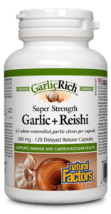 Natural Factors GarlicRich Super Strength Garlic + Reishi 300mg 120 Delayed Release Capsules