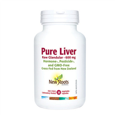 New Roots Pure Liver Raw Glandular 600mg 30 Caps