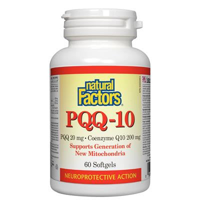Natural Factors PQQ-10 PQQ 20 mg • Coenzyme Q10 200 mg 60 Softgels