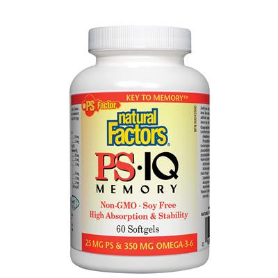 Natural Factors PS•IQ Memory PS 25 mg • Omega-3-6 350 mg Non-GMO • Soy Free 60 Softgels