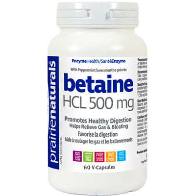 Prairie Naturals Betaine HCL 500mg 60 VCapsules