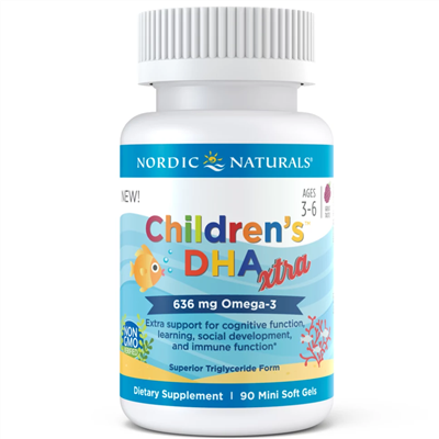Nordic Naturals Children's DHA Xtra 636 mg Omega-3 90 Mini Soft Gels
