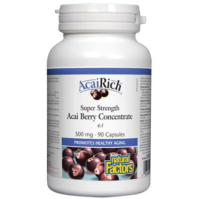 Natural Factors AcaiRich® Super Strength Acai Berry Concentrate 500 mg 90 Capsules