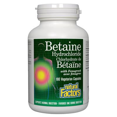 Natural Factors Betaine Hydrochloride (HCL) w/ Fenugreek 180 VCapsules
