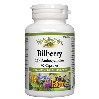 Natural Factors Bilberry, HerbalFactors® 90 Capsules