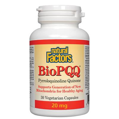 Natural Factors BioPQQ 20 mg Pyrroloquinoline Quinone 30 VCapsules
