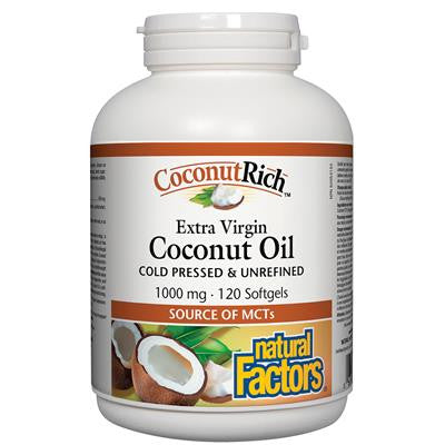Natural Factors CoconutRich Extra Virgin Coconut Oil 1000 mg 120 Softgels
