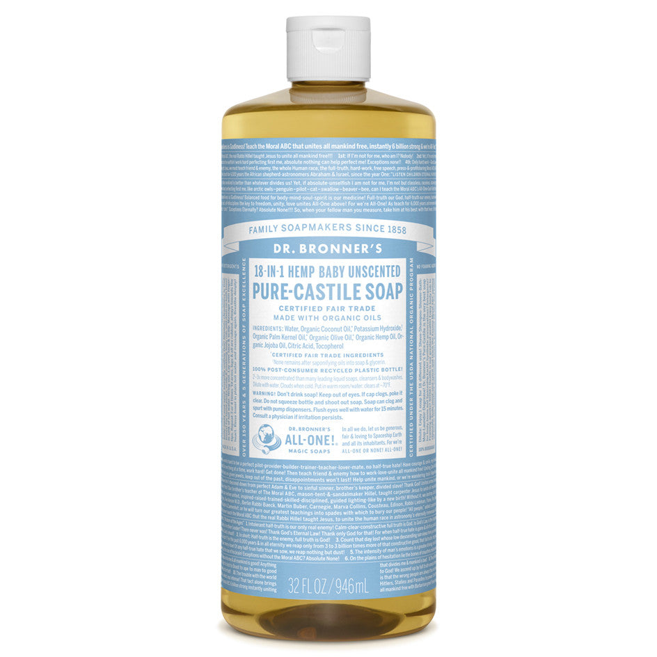 Dr. Bronner's Baby Unscented Pure-Castile Liquid Soap 946 ml