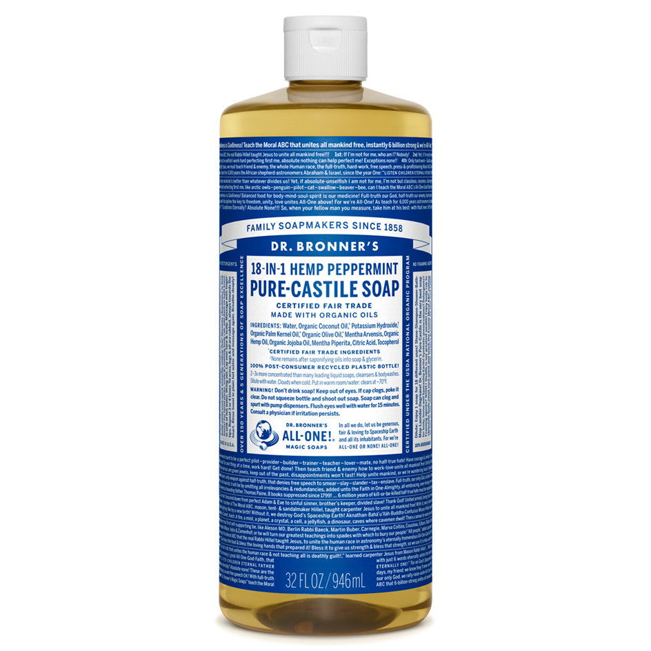 Dr. Bronner's Peppermint Pure-Castile Liquid Soap 946 ml