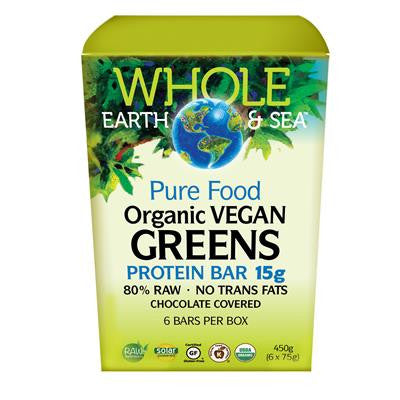 Natural Factors Organic Vegan Greens Protein Bar 15 g, Whole Earth & Sea™ 6 x 15 g