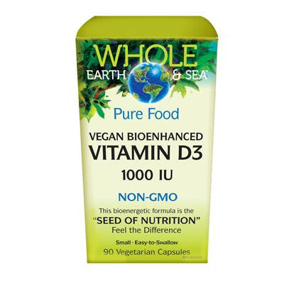 Natural Factors Vegan Bioenhanced Vitamin D3 1000 IU, Whole Earth & Sea™ 90 VCapsules