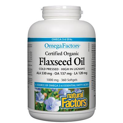Natural Factors OmegaFactors® Certified Organic Flaxseed Oil 1000 mg 360 Softgels