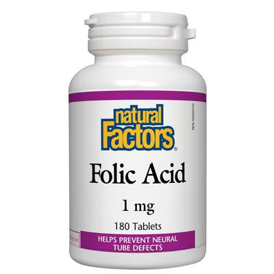 Natural Factors Folic Acid 180 Tablets