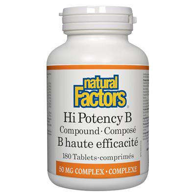 Natural Factors Hi Potency B Compound 50 mg Complex 180 Tablets