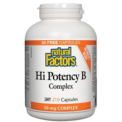 Natural Factors Hi Potency B Complex 50 mg Complex 180+ 30 Capsules