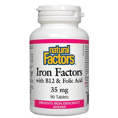 Natural Factors Iron Factors with B12 & Folic Acid 35 mg 90 Tablets