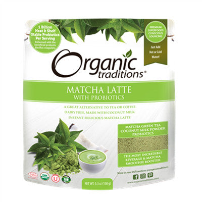 Organic Traditions Latte - Matcha with Probiotics and Vanilla