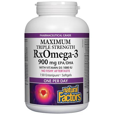 Natural Factors RxOmega-3 with Vitamin D3 1000 IU 900 mg, Maximum Triple Strength 150 Softgels
