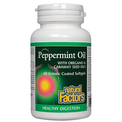 Natural Factors Peppermint Oil with Oregano & Caraway Seed Oils 60 Softgels