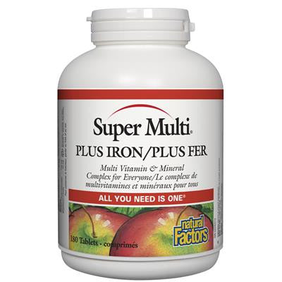 Natural Factors Super Multi® Plus Iron 180 Tablets