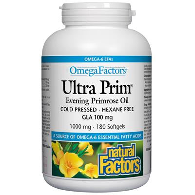 Natural Factors OmegaFactors® Ultra Prim® Evening Primrose Oil 1000 mg 180 Softgels