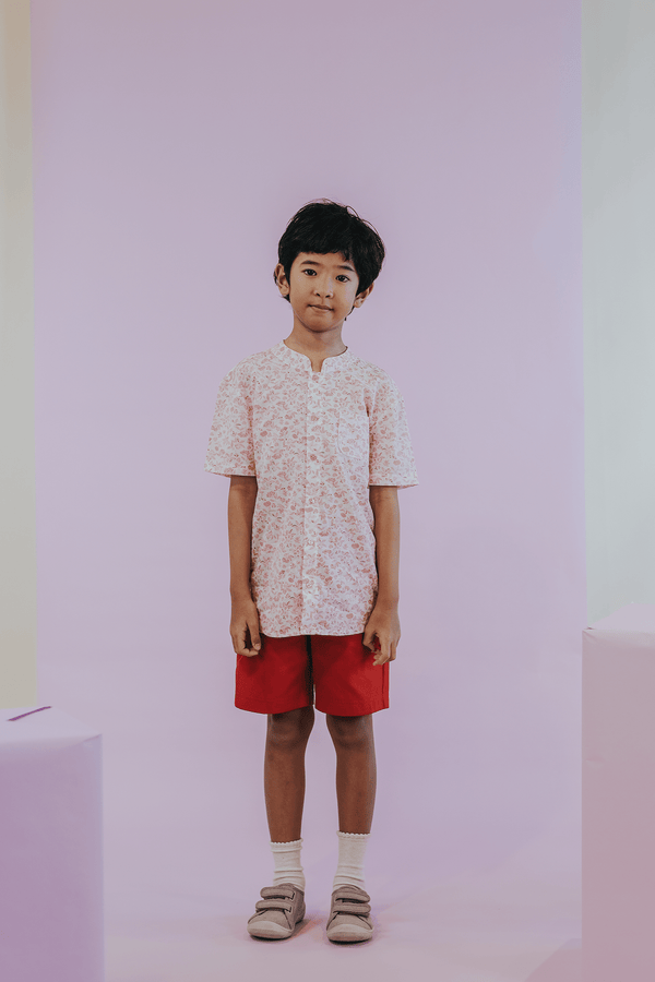 Sea Apple RED PORCELAIN MANDARIN SHIRT