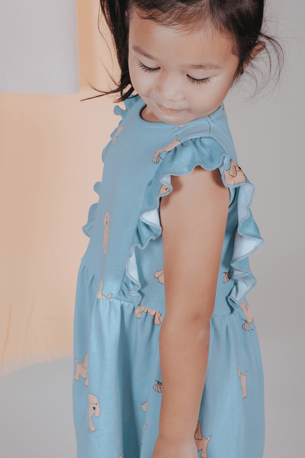 Sea Apple Runaway Dog Blue Casual Ruffled Dress