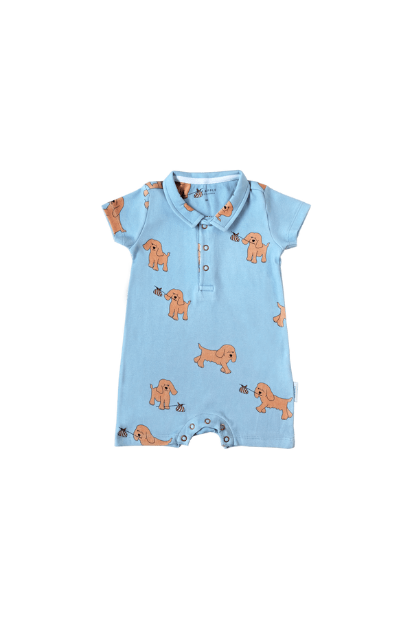 RUNAWAY DOG COLLARED BLUE SHORTS ROMPER