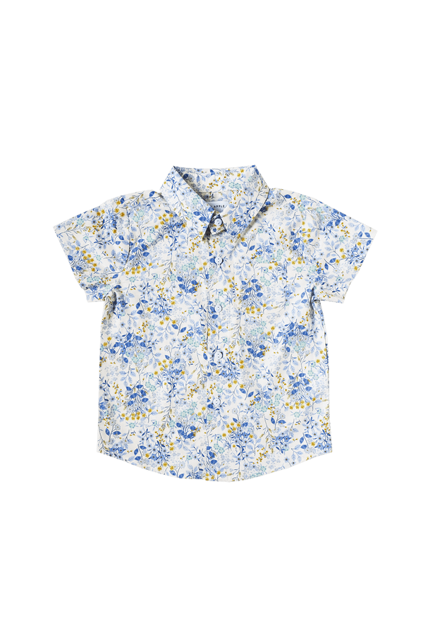 Porcelain Blooms Collared Shirt
