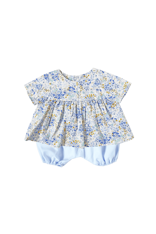 Porcelain Blooms Flared Top & Sky Blue Bloomers Set