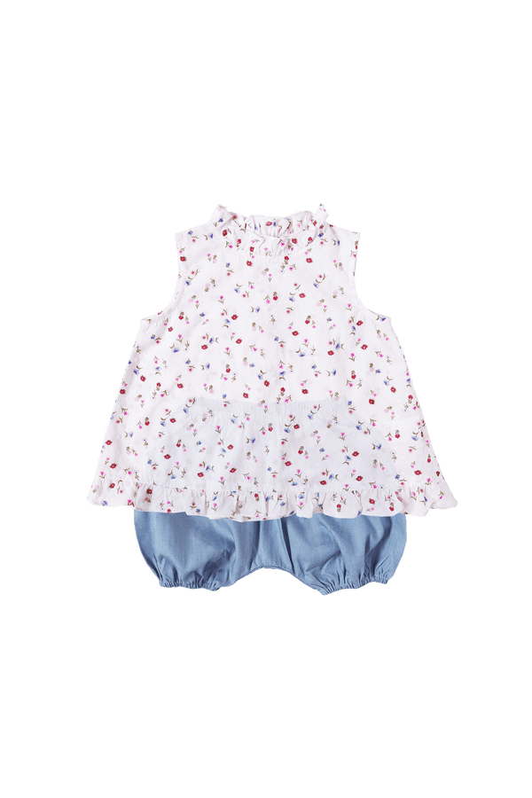 Swiss Dot Bouquet Dressy Tank & Bloomers Baby Set