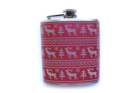 Red Reindeer Ugly Christmas Sweater Flask - Harmless Habit - 1