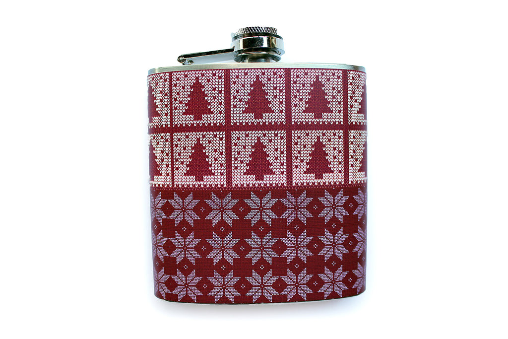 Red Trees and Snowflakes Christmas Flask - Harmless Habit - 1