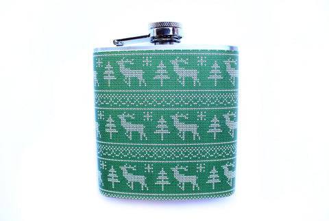 Green Reindeer Ugly Christmas Sweater Customizable Flask - Harmless Habit - 1