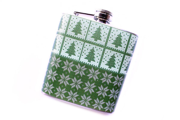 Green Trees and Snowflakes Christmas Flask - Harmless Habit - 2