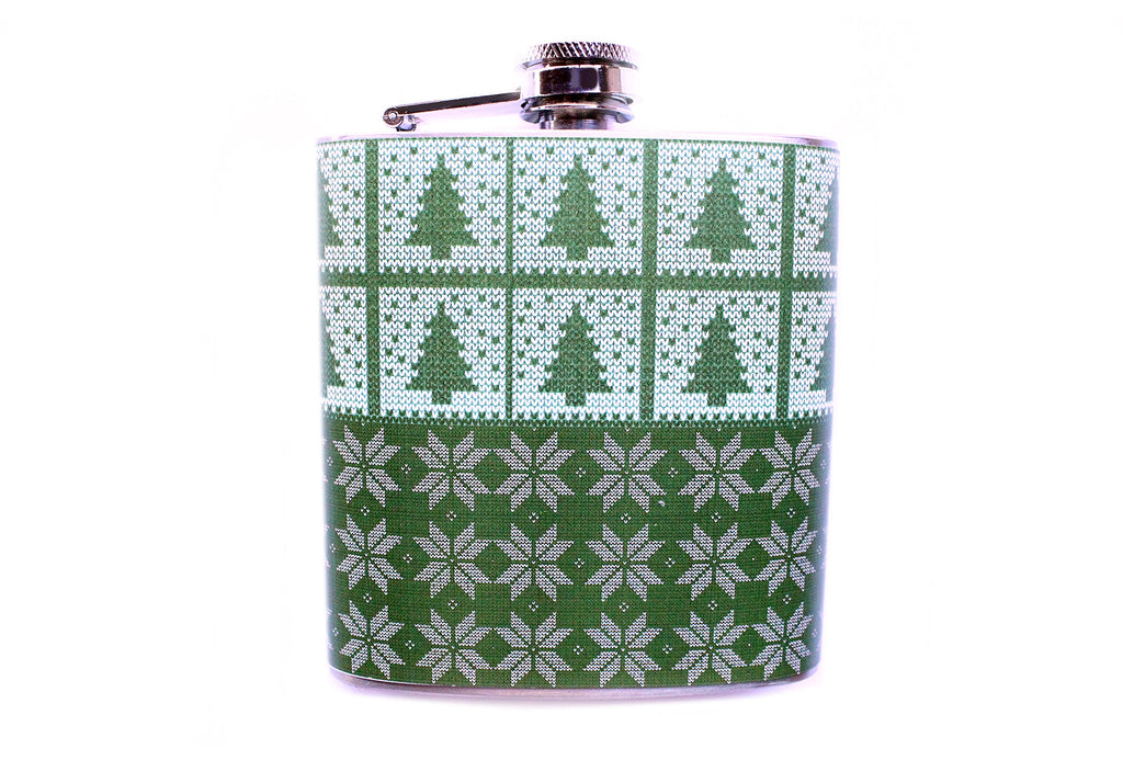 Green Trees and Snowflakes Christmas Flask - Harmless Habit - 1