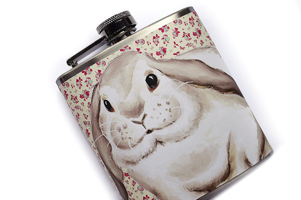 Cottage Chic Bunny Rabbit Floral Flask - Harmless Habit - 2